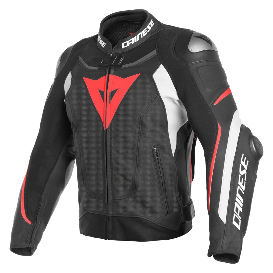 Куртка мужская Dainese Super Speed 3 Perf Leather Jacket Black/White/Fluo-Red