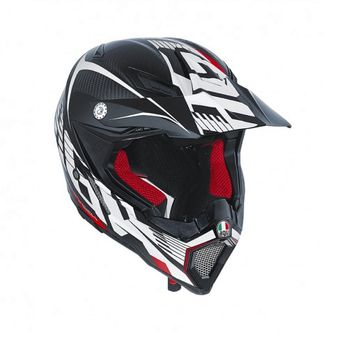 Шлем AGV AX-8 Carbon Multi Carbontech - White/Red
