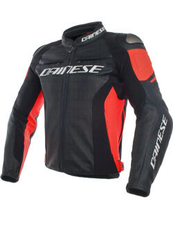 Куртка мужская Dainese  Racing 3 Perf Leather Jacket Black/Black/Fluo-Red