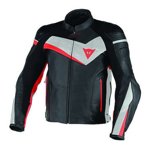 Куртка кожаная Dainese Veloster Perforated - Blk/Wht/Red